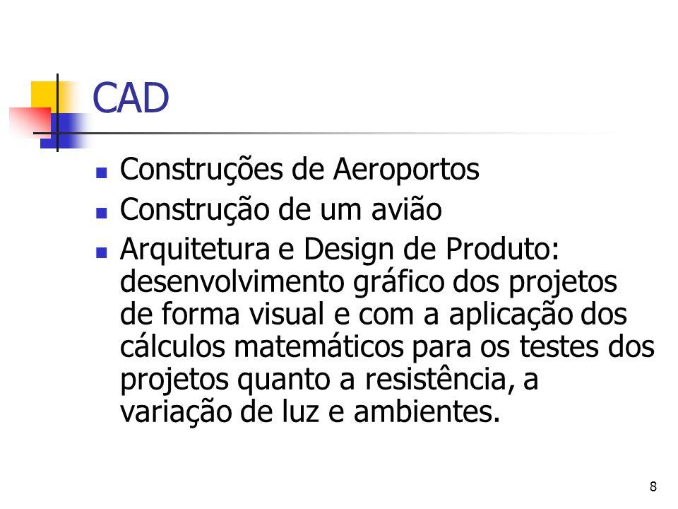 8 CAD Construções de Aeroportos Construção de um avião Arquitetura e Design de Produto: desenvolvimento gráfico dos projetos de forma visual e com a a