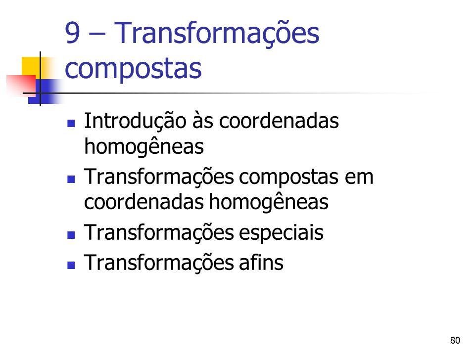 80 9 – Transformações compostas Introdução às coordenadas homogêneas Transformações compostas em coordenadas homogêneas Transformações especiais Trans