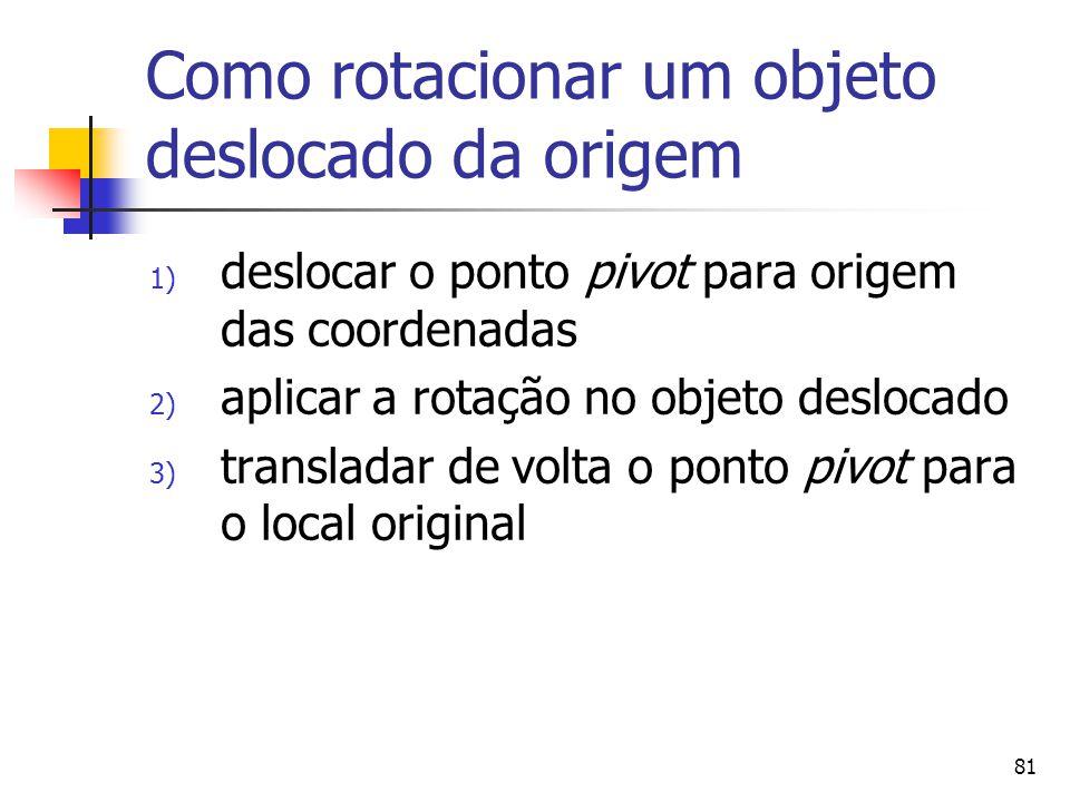 81 Como rotacionar um objeto deslocado da origem 1) deslocar o ponto pivot para origem das coordenadas 2) aplicar a rotação no objeto deslocado 3) tra