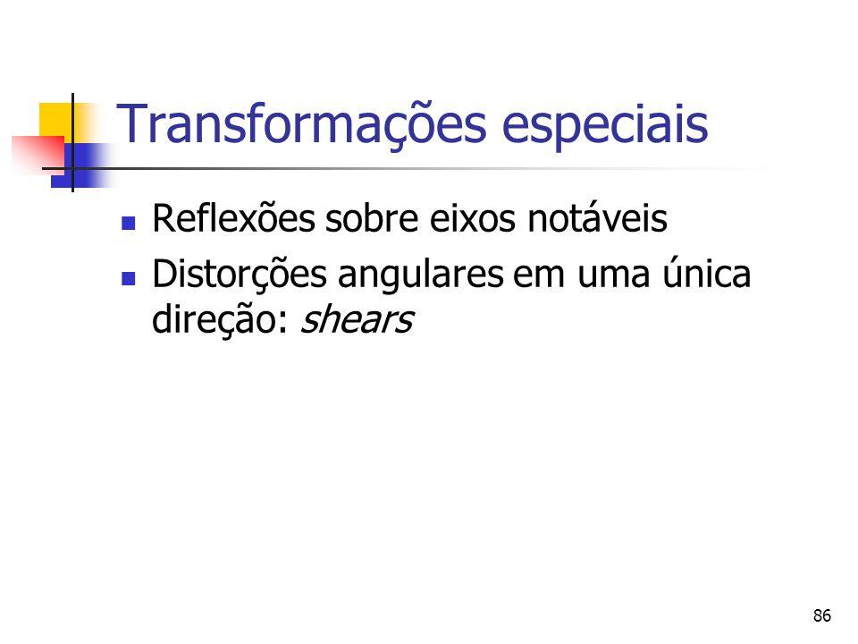 86 Transformações especiais Reflexões sobre eixos notáveis Distorções angulares em uma única direção: shears