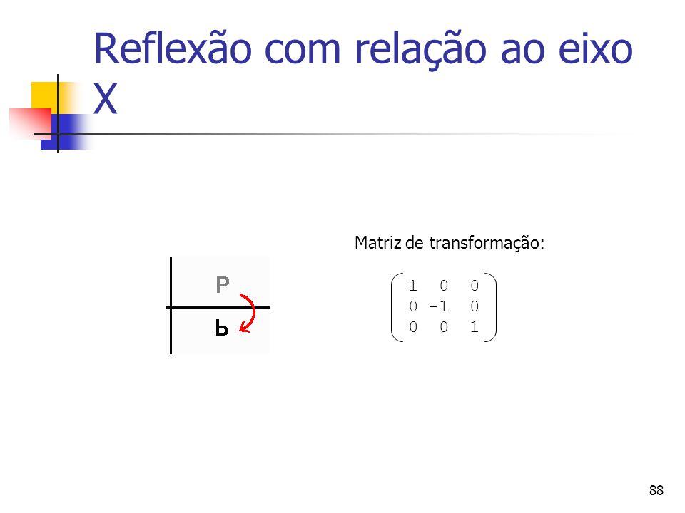 88 Reflexão com relação ao eixo X 1 0 0 0 -1 0 0 0 1 Matriz de transformação: