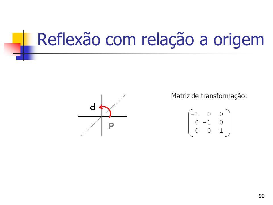 90 Reflexão com relação a origem -1 0 0 0 -1 0 0 0 1 Matriz de transformação: