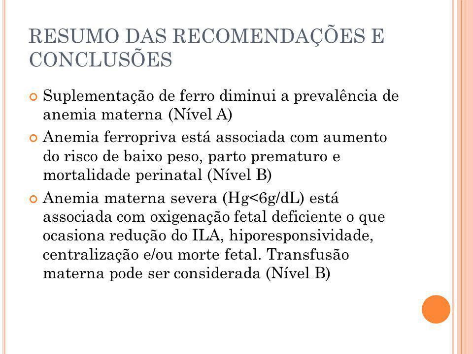 RESUMO DAS RECOMENDAÇÕES E CONCLUSÕES Suplementação de ferro diminui a prevalência de anemia materna (Nível A) Anemia ferropriva está associada com au