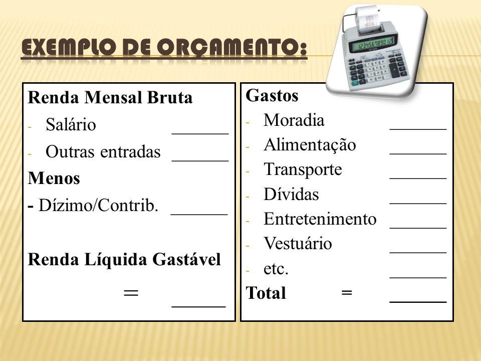 Renda Mensal Bruta - Salário______ - Outras entradas ______ Menos - Dízimo/Contrib.