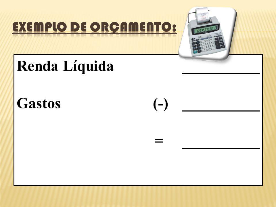 Renda Líquida__________ Gastos (-)__________ =__________