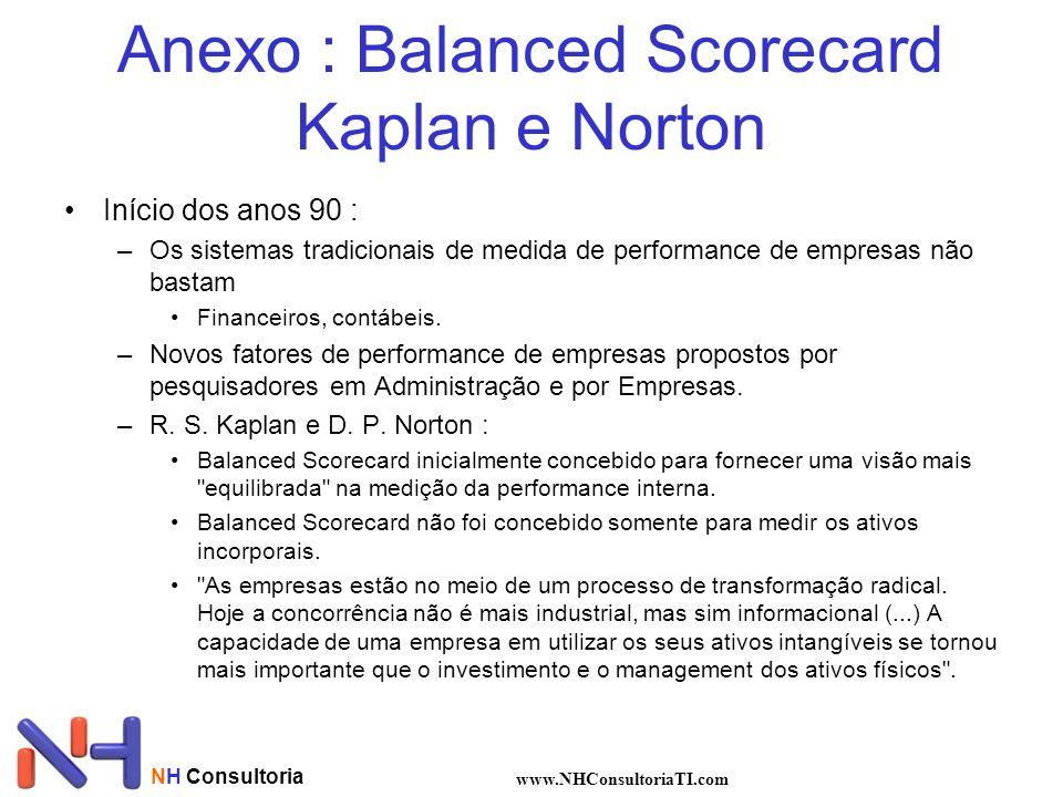 NH Consultoria www.NHConsultoriaTI.com Anexo : Balanced Scorecard Kaplan e Norton Início dos anos 90 : –Os sistemas tradicionais de medida de performa