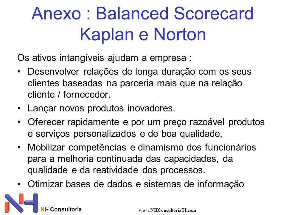 NH Consultoria www.NHConsultoriaTI.com Anexo : Balanced Scorecard Kaplan e Norton Os ativos intangíveis ajudam a empresa : Desenvolver relações de lon