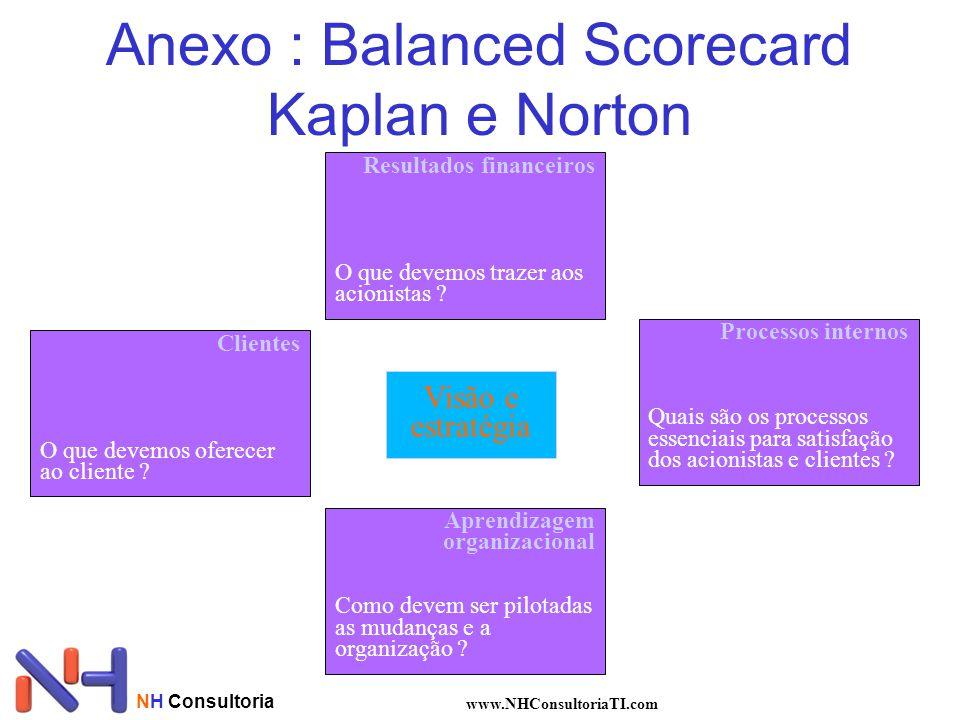 NH Consultoria www.NHConsultoriaTI.com Anexo : Balanced Scorecard Kaplan e Norton Visão e estratégia Resultados financeiros O que devemos trazer aos a