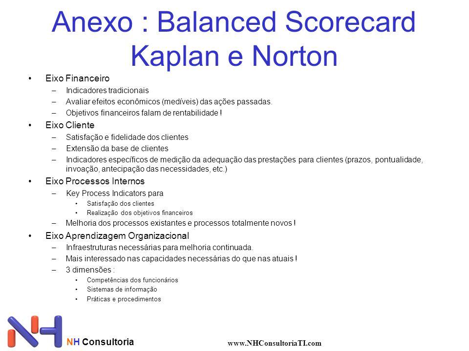 NH Consultoria www.NHConsultoriaTI.com Anexo : Balanced Scorecard Kaplan e Norton Eixo Financeiro –Indicadores tradicionais –Avaliar efeitos econômico