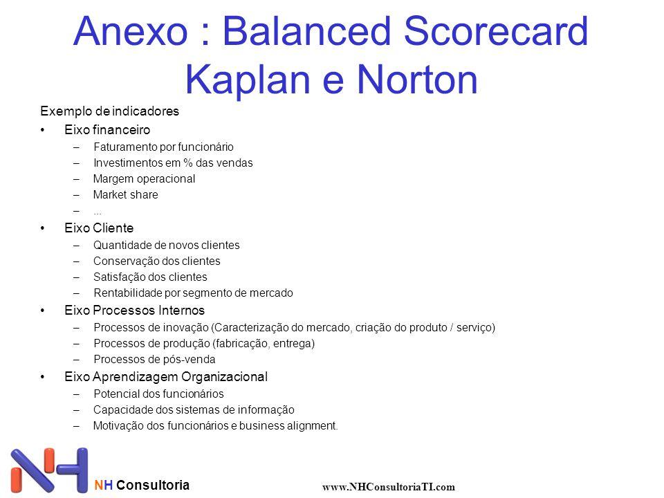 NH Consultoria www.NHConsultoriaTI.com Anexo : Balanced Scorecard Kaplan e Norton Exemplo de indicadores Eixo financeiro –Faturamento por funcionário