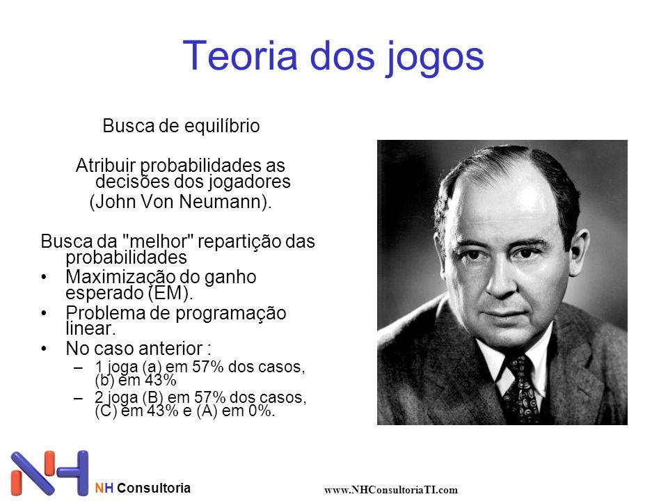 Teoria dos jogos Busca de equilíbrio Atribuir probabilidades as decisões dos jogadores (John Von Neumann). Busca da