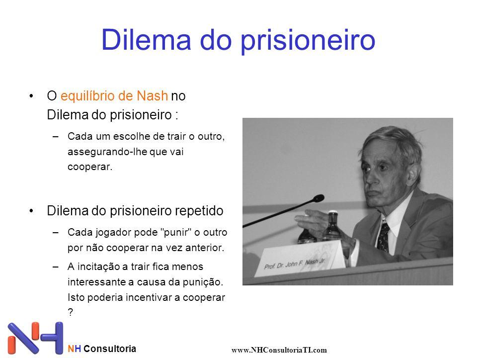 Dilema do prisioneiro O equilíbrio de Nash no Dilema do prisioneiro : –Cada um escolhe de trair o outro, assegurando-lhe que vai cooperar. Dilema do p