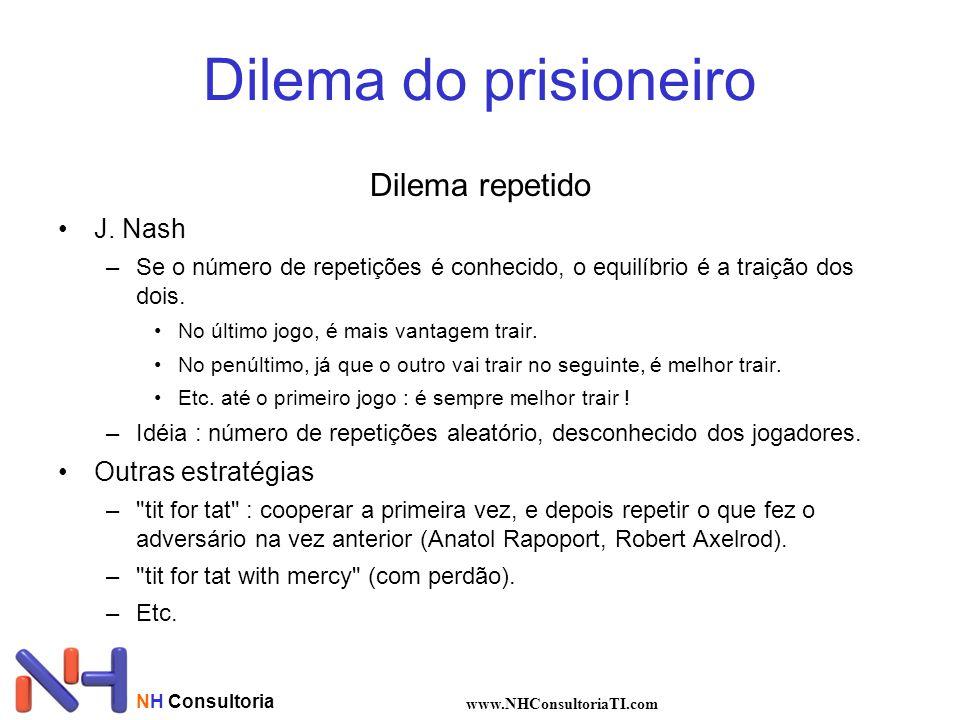 NH Consultoria www.NHConsultoriaTI.com Dilema do prisioneiro Dilema repetido J. Nash –Se o número de repetições é conhecido, o equilíbrio é a traição