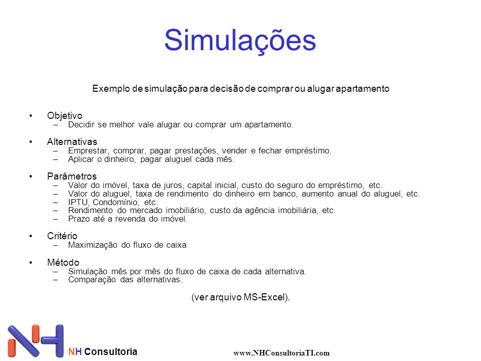 NH Consultoria www.NHConsultoriaTI.com Simulações Exemplo de simulação para decisão de comprar ou alugar apartamento Objetivo –Decidir se melhor vale