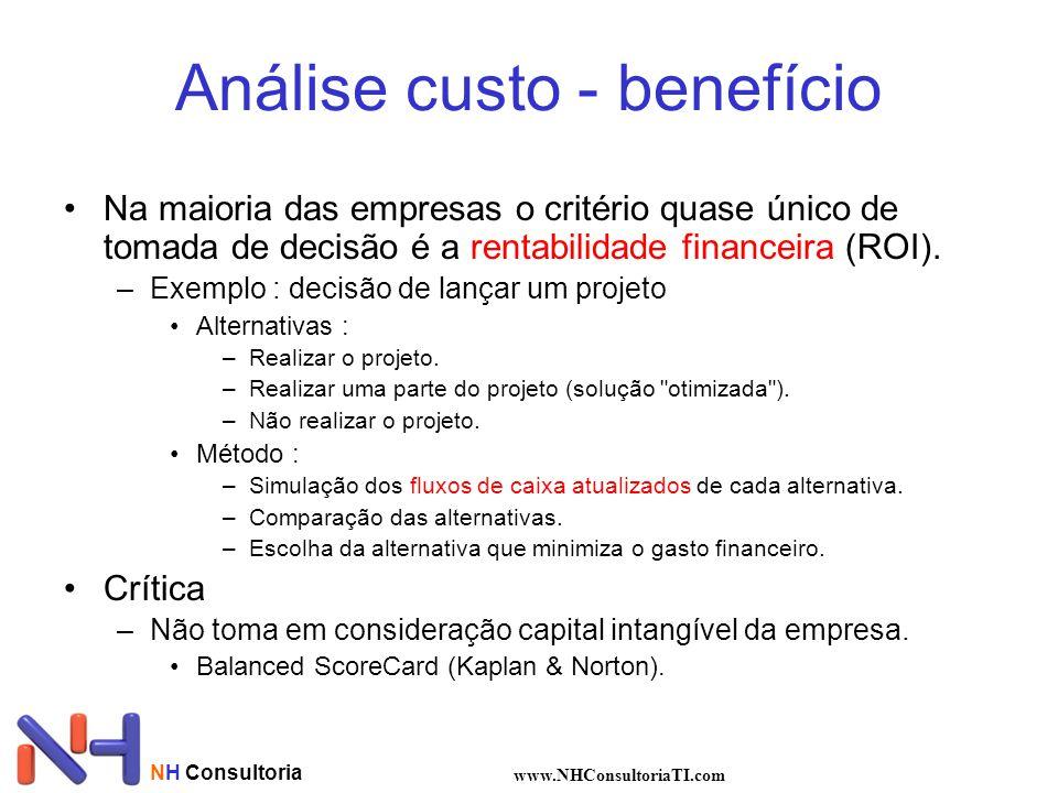 NH Consultoria www.NHConsultoriaTI.com Análise custo - benefício Na maioria das empresas o critério quase único de tomada de decisão é a rentabilidade