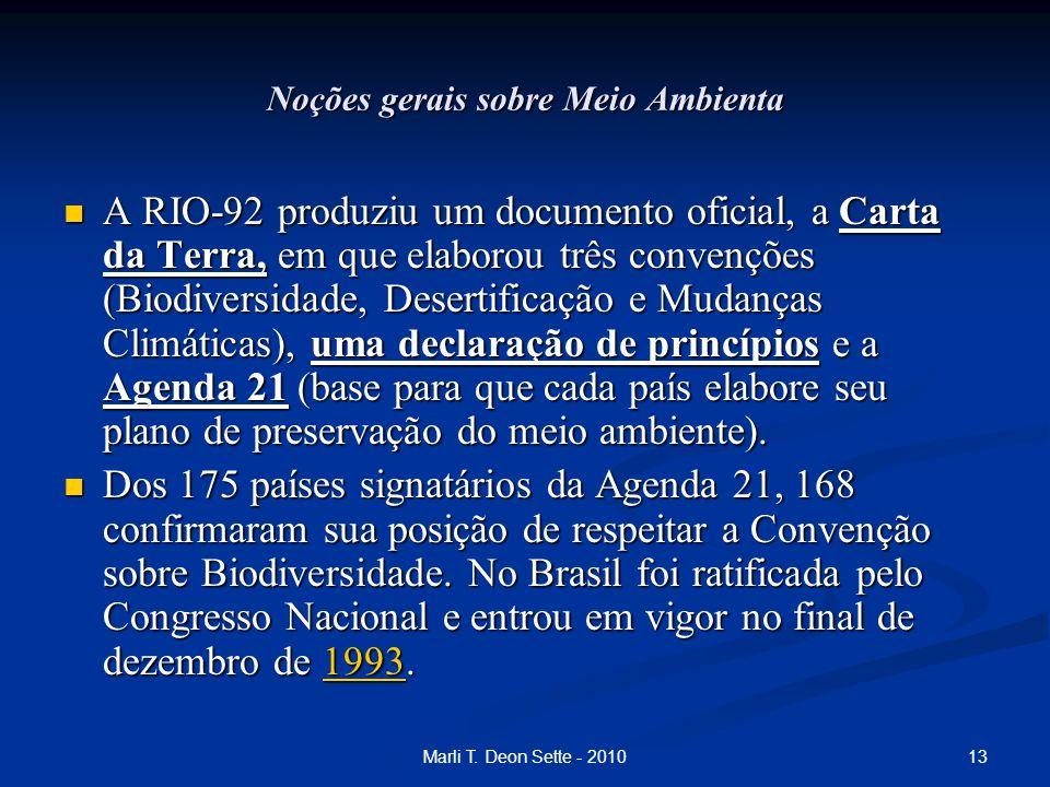 13Marli T. Deon Sette - 2010 Noções gerais sobre Meio Ambienta A RIO-92 produziu um documento oficial, a Carta da Terra, em que elaborou três convençõ