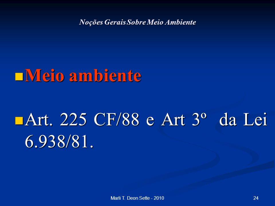 24Marli T. Deon Sette - 2010 Noções Gerais Sobre Meio Ambiente Meio ambiente Meio ambiente Art. 225 CF/88 e Art 3º da Lei 6.938/81. Art. 225 CF/88 e A