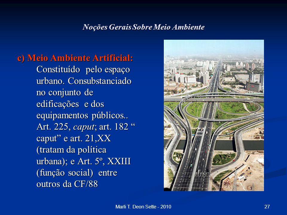 27Marli T. Deon Sette - 2010 Noções Gerais Sobre Meio Ambiente c) Meio Ambiente Artificial: Constituído pelo espaço urbano. Consubstanciado no conjunt