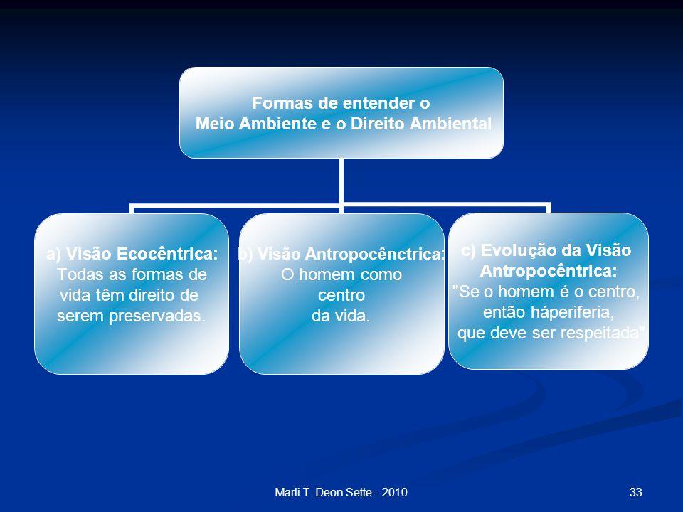 33Marli T. Deon Sette - 2010 Formas de entender o Meio Ambiente e o Direito Ambiental a) Visão Ecocêntrica: Todas as formas de vida têm direito de ser