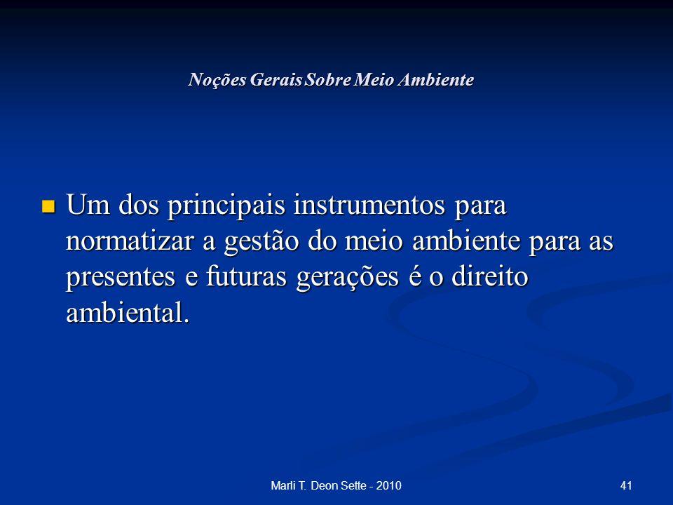41Marli T. Deon Sette - 2010 Noções Gerais Sobre Meio Ambiente Um dos principais instrumentos para normatizar a gestão do meio ambiente para as presen