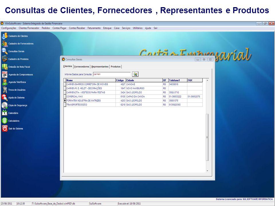 Consultas de Clientes, Fornecedores, Representantes e Produtos