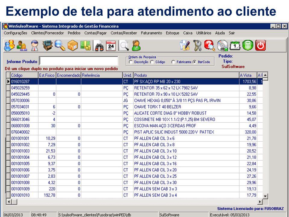 Exemplo de tela para atendimento ao cliente