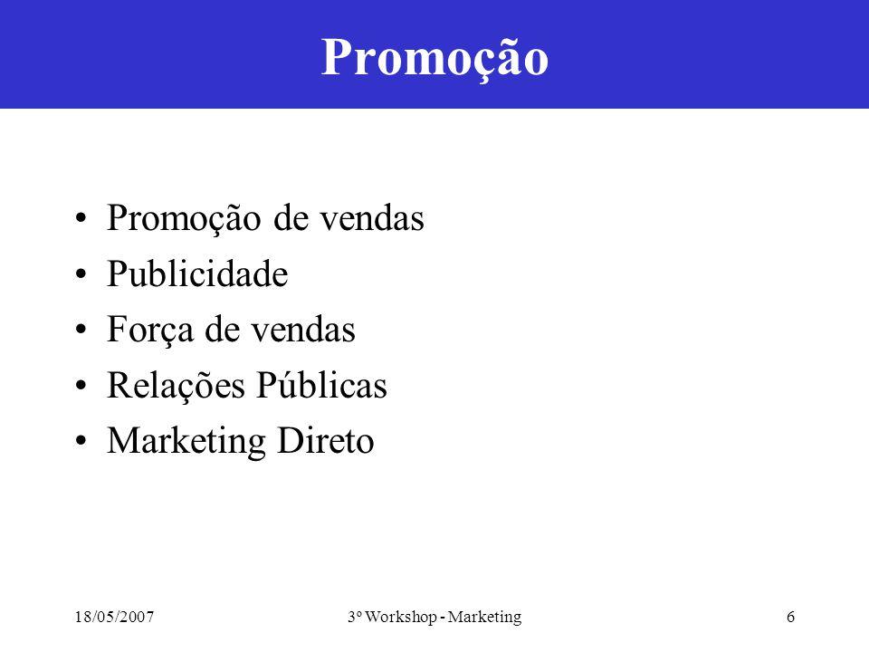 18/05/20073º Workshop - Marketing6 Promoção Promoção de vendas Publicidade Força de vendas Relações Públicas Marketing Direto