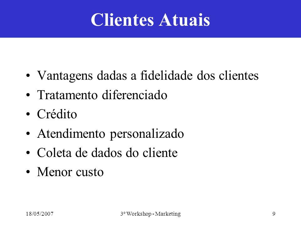 18/05/20073º Workshop - Marketing9 Clientes Atuais Vantagens dadas a fidelidade dos clientes Tratamento diferenciado Crédito Atendimento personalizado Coleta de dados do cliente Menor custo