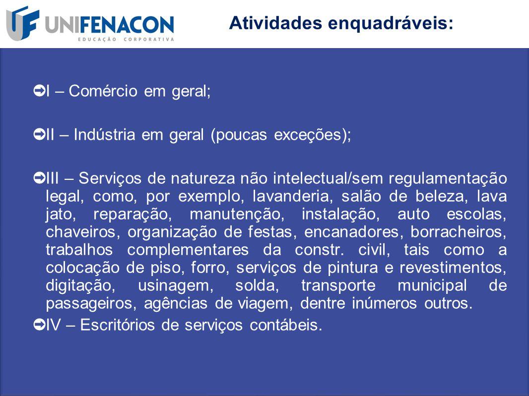 ➲ I – Comércio em geral; ➲ II – Indústria em geral (poucas exceções); ➲ III – Serviços de natureza não intelectual/sem regulamentação legal, como, por
