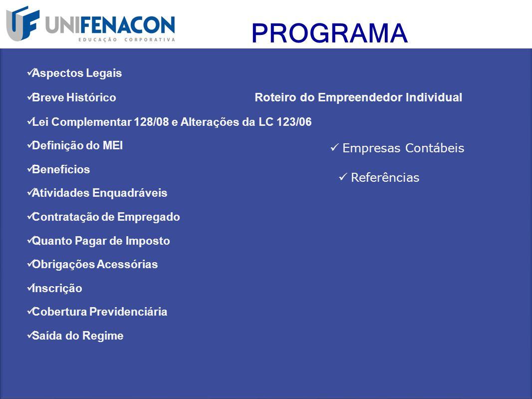 PROGRAMA Aspectos Legais Breve Histórico Roteiro do Empreendedor Individual Lei Complementar 128/08 e Alterações da LC 123/06 Definição do MEI Benefíc