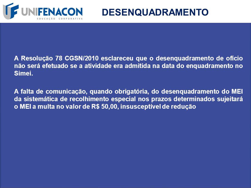 DESENQUADRAMENTO A Resolução 78 CGSN/2010 esclareceu que o desenquadramento de ofício não será efetuado se a atividade era admitida na data do enquadr