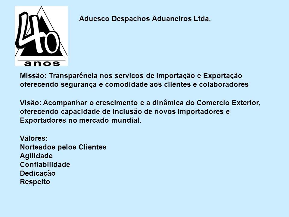 Aduesco Despachos Aduaneiros Ltda. Missão: Transparência nos serviços de Importação e Exportação oferecendo segurança e comodidade aos clientes e cola