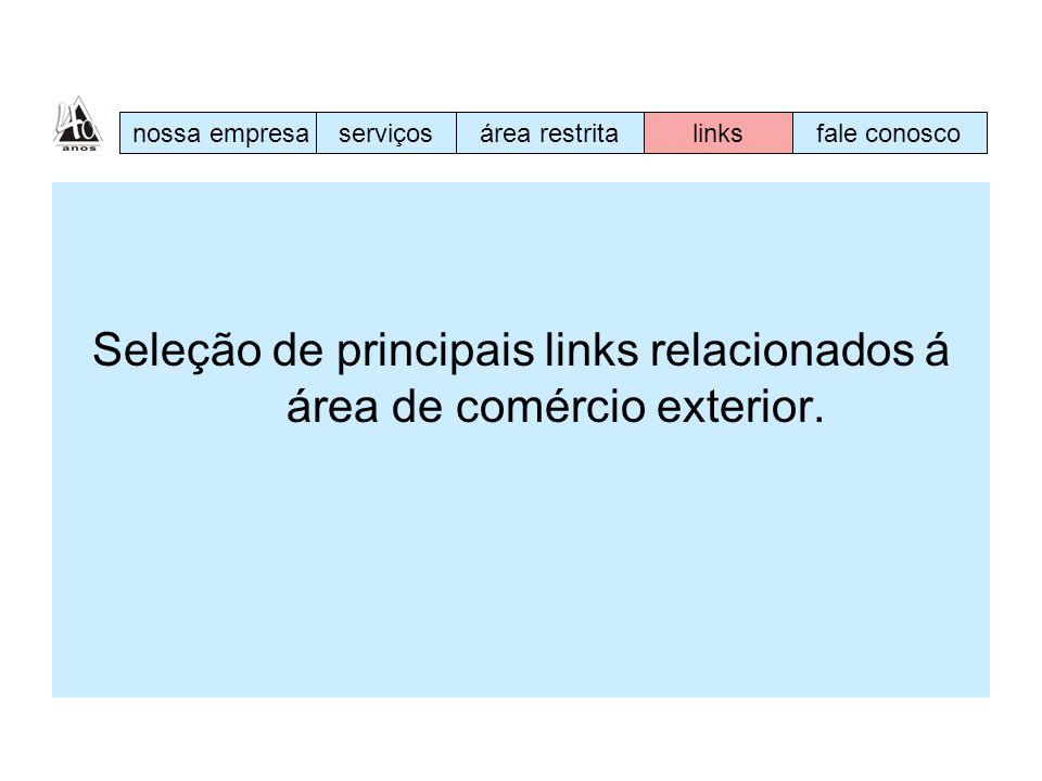 Seleção de principais links relacionados á área de comércio exterior. nossa empresaserviçosárea restritalinksfale conosco
