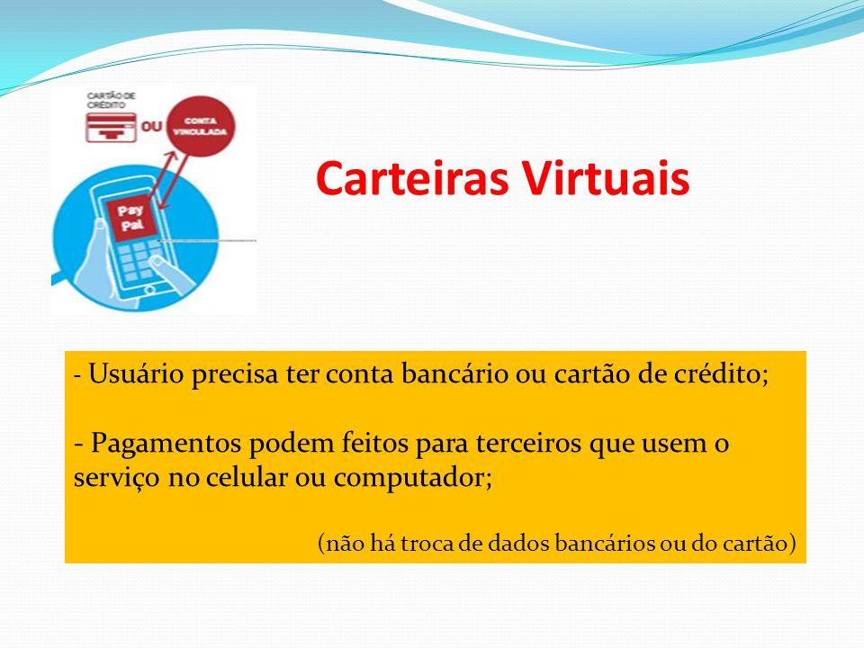 Carteiras Virtuais - Usuário precisa ter conta bancário ou cartão de crédito; - Pagamentos podem feitos para terceiros que usem o serviço no celular o