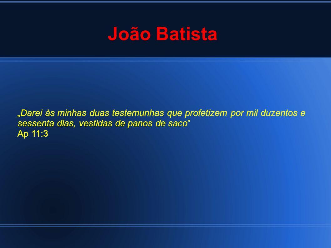 """João Batista """"Darei às minhas duas testemunhas que profetizem por mil duzentos e sessenta dias, vestidas de panos de saco Ap 11:3"""