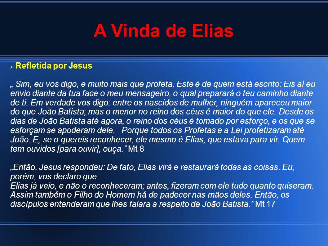 """A Vinda de Elias  Refletida por Jesus """" Sim, eu vos digo, e muito mais que profeta."""