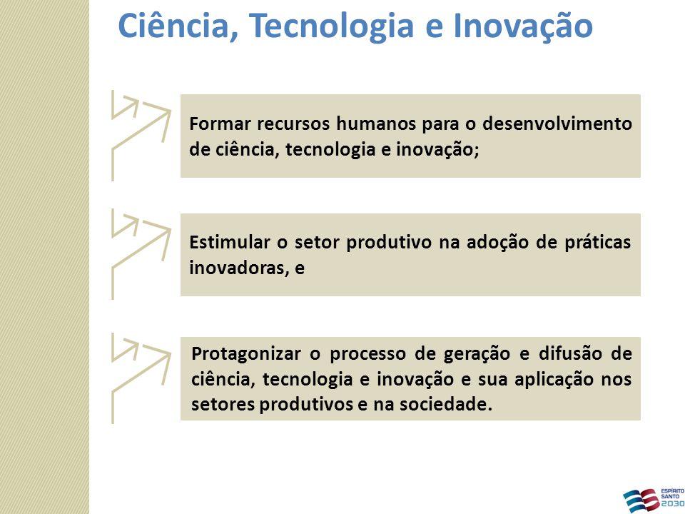 Protagonizar o processo de geração e difusão de ciência, tecnologia e inovação e sua aplicação nos setores produtivos e na sociedade. Estimular o seto
