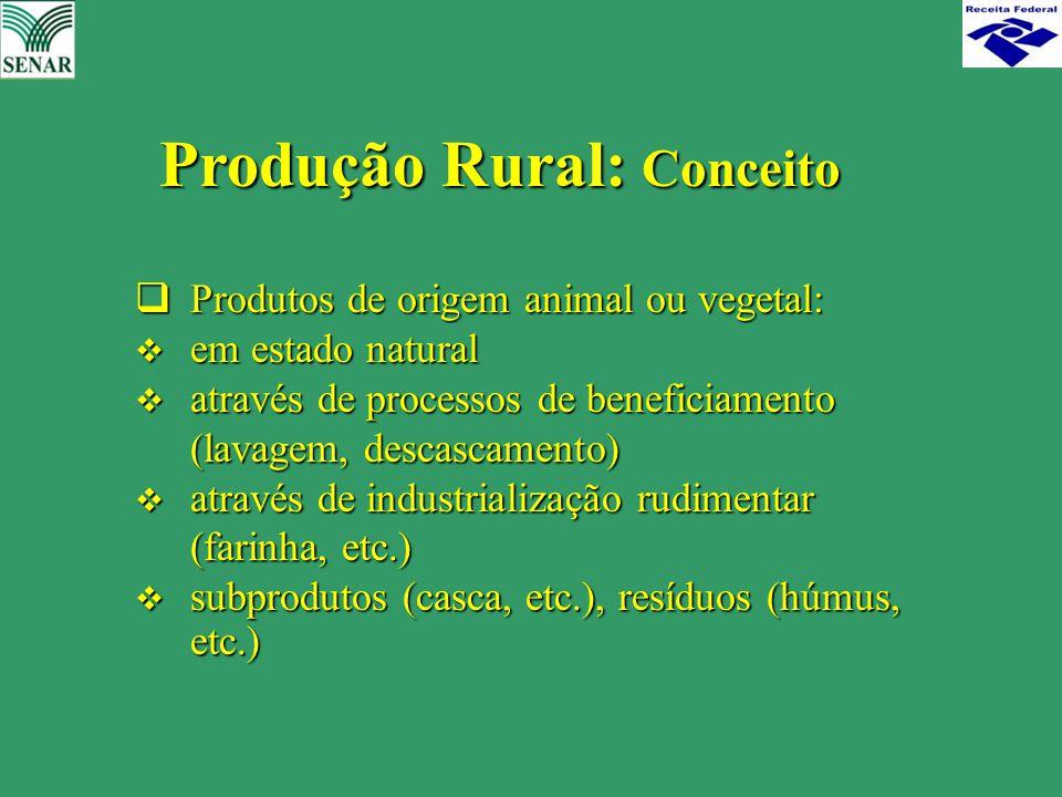  Produtos de origem animal ou vegetal:  em estado natural  através de processos de beneficiamento (lavagem, descascamento)  através de industriali