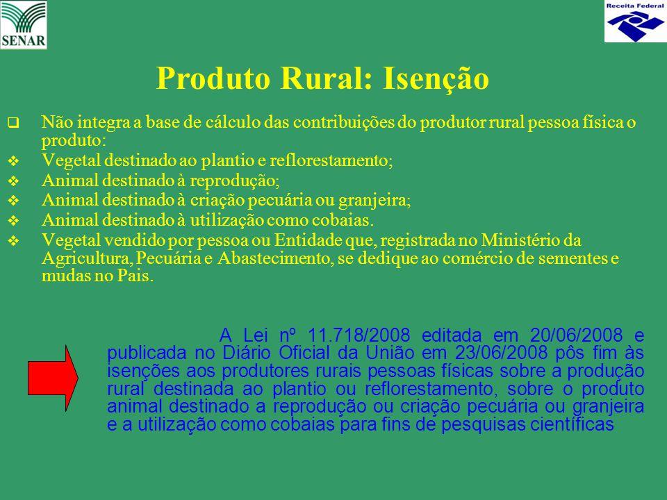  Não integra a base de cálculo das contribuições do produtor rural pessoa física o produto:  Vegetal destinado ao plantio e reflorestamento ;  Anim