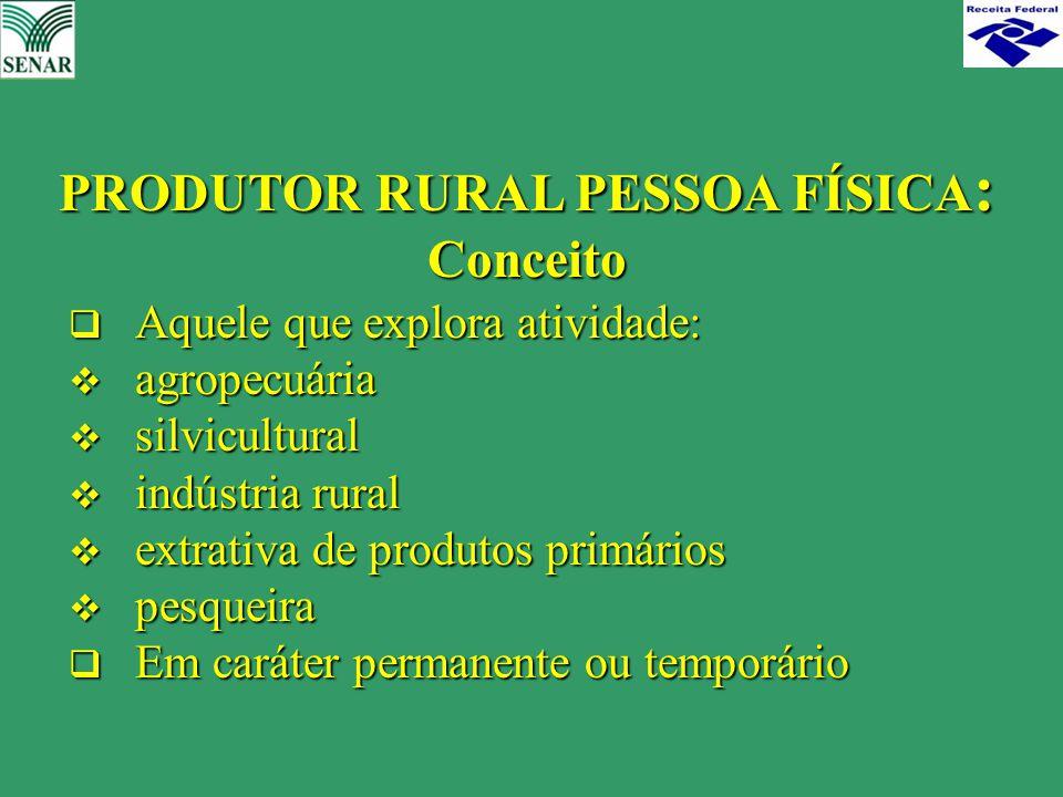  Aquele que explora atividade:  agropecuária  silvicultural  indústria rural  extrativa de produtos primários  pesqueira  Em caráter permanente