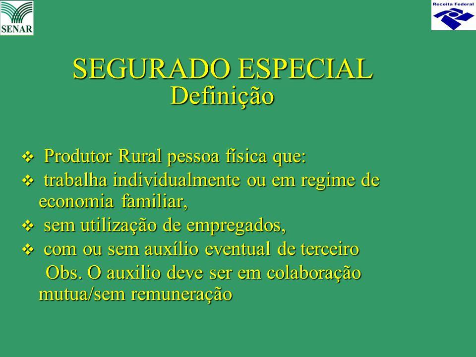 SEGURADO ESPECIAL Definição  Produtor Rural pessoa física que:  trabalha individualmente ou em regime de economia familiar,  sem utilização de empr