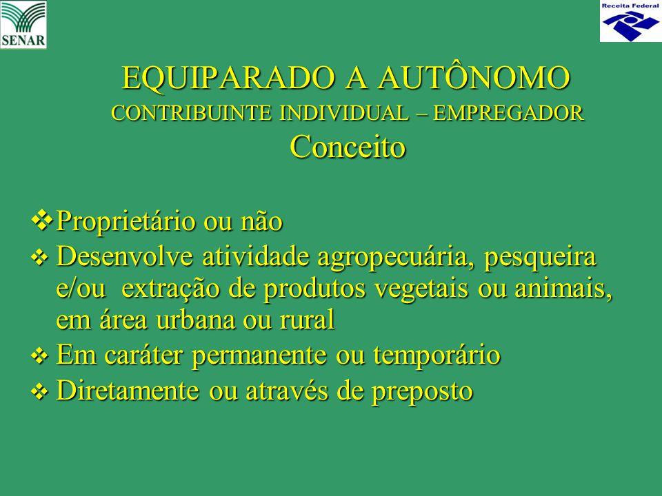 EQUIPARADO A AUTÔNOMO CONTRIBUINTE INDIVIDUAL – EMPREGADOR Conceito EQUIPARADO A AUTÔNOMO CONTRIBUINTE INDIVIDUAL – EMPREGADOR Conceito  Proprietário