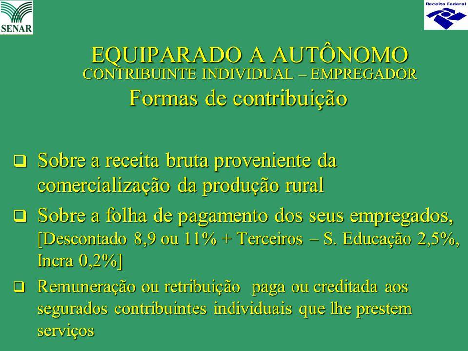 EQUIPARADO A AUTÔNOMO CONTRIBUINTE INDIVIDUAL – EMPREGADOR EQUIPARADO A AUTÔNOMO CONTRIBUINTE INDIVIDUAL – EMPREGADOR Formas de contribuição  Sobre a