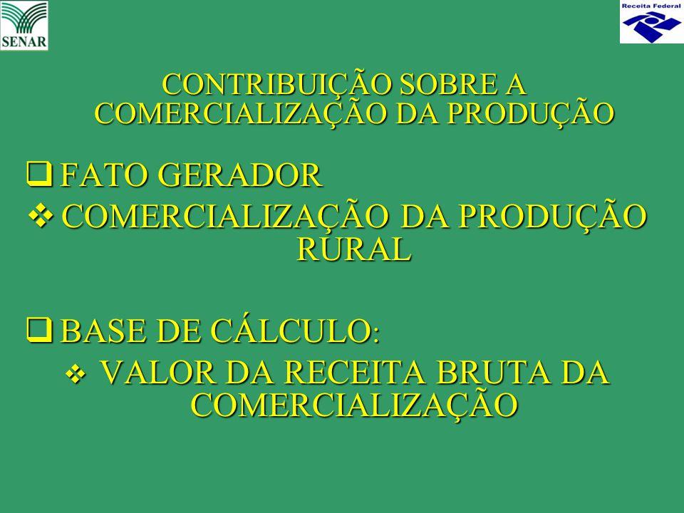CONTRIBUIÇÃO SOBRE A COMERCIALIZAÇÃO DA PRODUÇÃO CONTRIBUIÇÃO SOBRE A COMERCIALIZAÇÃO DA PRODUÇÃO  FATO GERADOR  COMERCIALIZAÇÃO DA PRODUÇÃO RURAL 