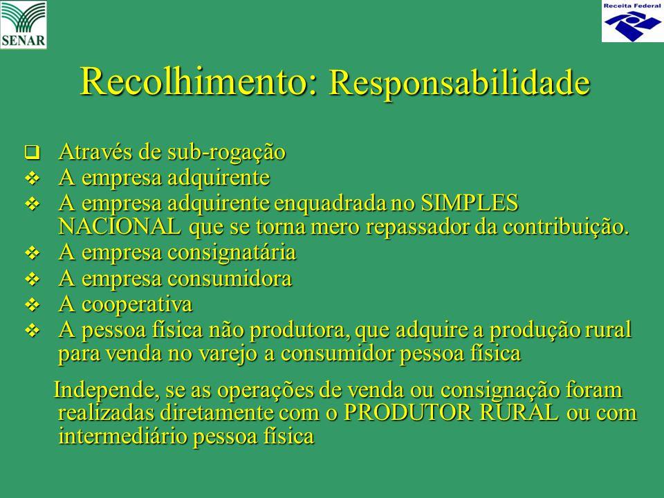 Recolhimento: Responsabilidade  Através de sub-rogação  A empresa adquirente  A empresa adquirente enquadrada no SIMPLES NACIONAL que se torna mero