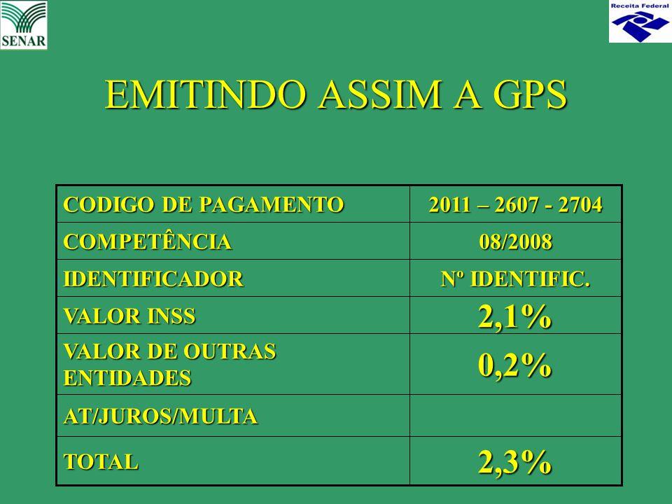 EMITINDO ASSIM A GPS 2,3%TOTAL AT/JUROS/MULTA 0,2% VALOR DE OUTRAS ENTIDADES 2,1% VALOR INSS Nº IDENTIFIC. IDENTIFICADOR 08/2008COMPETÊNCIA 2011 – 260