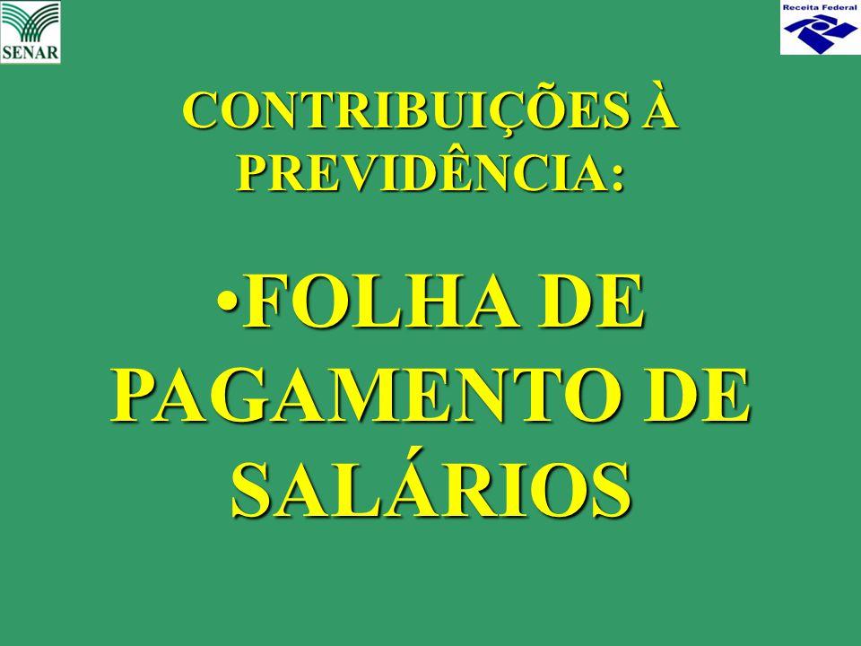 CONTRIBUIÇÕES À PREVIDÊNCIA: FOLHA DE PAGAMENTO DE SALÁRIOSFOLHA DE PAGAMENTO DE SALÁRIOS