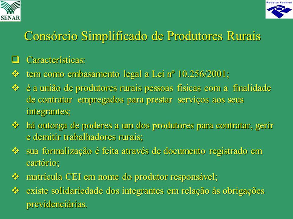 Consórcio Simplificado de Produtores Rurais  Características:  tem como embasamento legal a Lei nº 10.256/2001;  é a união de produtores rurais pes