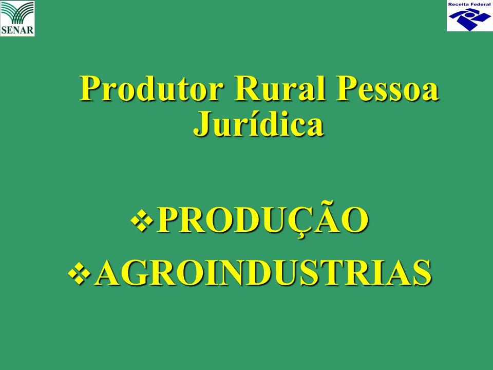 Produtor Rural Pessoa Jurídica  PRODUÇÃO  AGROINDUSTRIAS