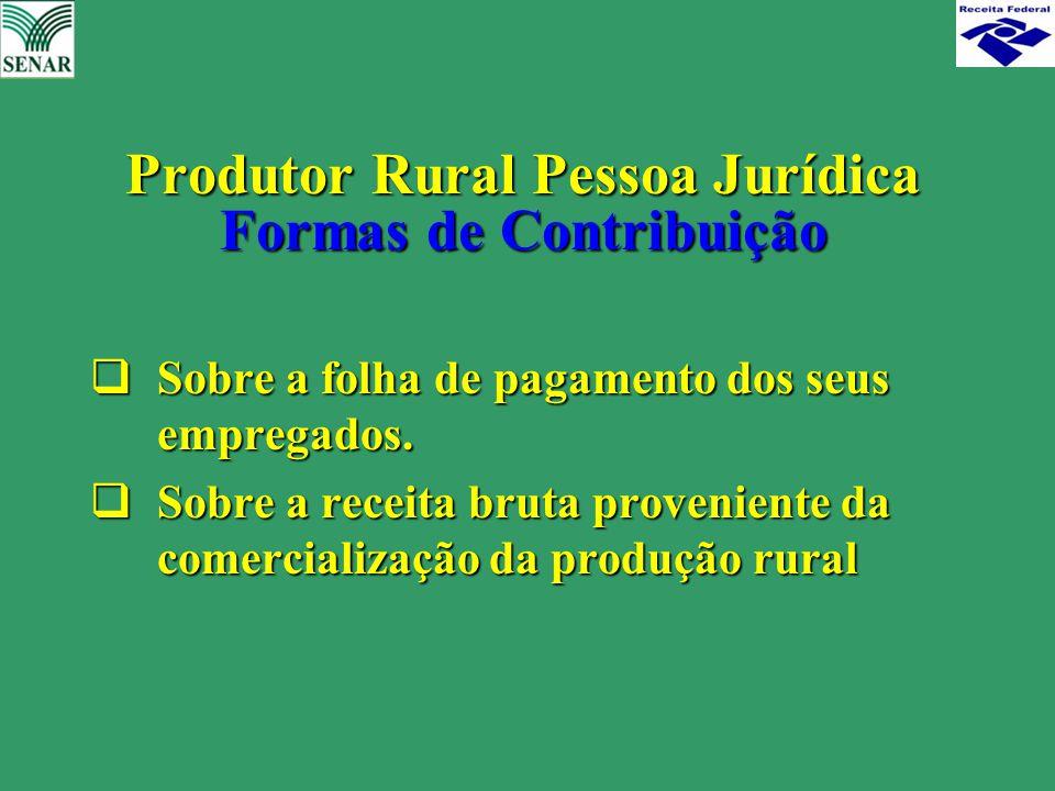  Sobre a folha de pagamento dos seus empregados.  Sobre a receita bruta proveniente da comercialização da produção rural Produtor Rural Pessoa Juríd